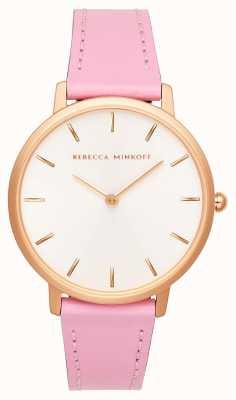 Rebecca Minkoff Dames major | roze leren riem | zilver / witte wijzerplaat | 2200290