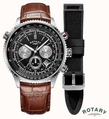 Rotary | heren | piloten chronograaf horloge | verwisselbare riem | GS00100/04/KIT