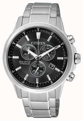 Citizen | mens eco-drive titanium wr100 | zwart / grijze wijzerplaat | AT2341-88E