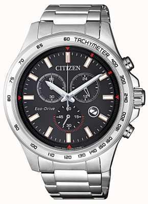 Citizen | heren eco-drive chronograaf | zwarte wijzerplaat | roestvrij staal AT2420-83E