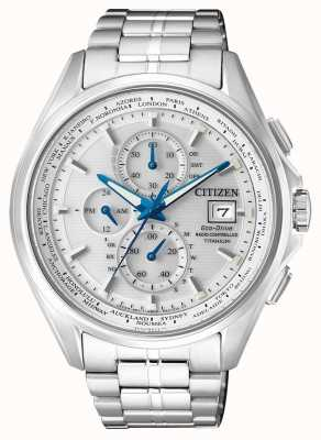 Citizen | mens eco-drive wereld chronograaf op | titanium armband | AT8130-56A