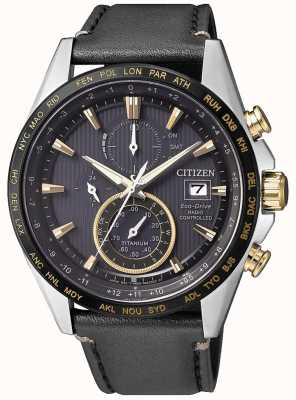 Citizen | mens eco-drive wereld chronograaf op | zwart lederen band AT8158-14H