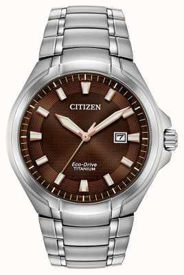 Citizen | mens eco-drive | titanium armband | bruine wijzerplaat | BM7431-51X