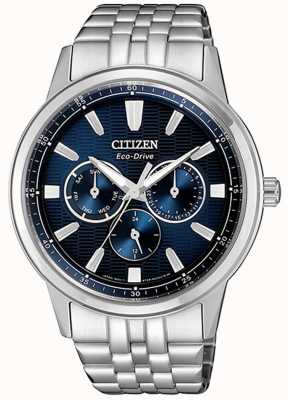 Citizen | mens eco-drive | roestvrij stalen armband | blauwe wijzerplaat | BU2071-87L