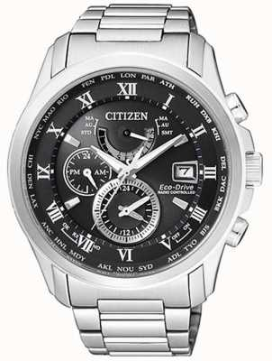 Citizen | mens eco-drive wereldtijd op | roestvrij staal | blackdial AT9081-89E