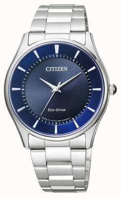 Citizen | mens eco-drive | roestvrij stalen armband | blauwe wijzerplaat | BJ6480-51L