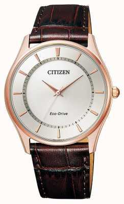 Citizen | mens eco-drive | bruine leren riem | zilveren wijzerplaat | BJ6483-01A