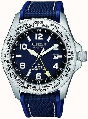 Citizen Eco-drive promaster gmt herenhorloge met blauwe wijzerplaat en blauwe canvas band BJ7100-15L