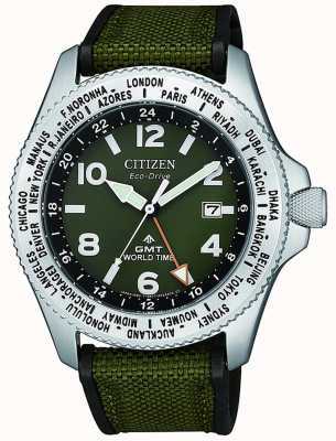 Citizen | mens | eco-drive promaster gmt | groen canvas | BJ7100-23X