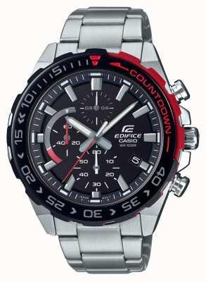 Casio | gebouw chronograaf | roestvrijstalen armband | zwarte wijzerplaat EFR-566DB-1AVUEF