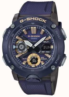 Casio | g-shock koolstof kern wereld tijd | blauwe rubberen riem | GA-2000-2AER