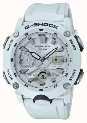 Casio | g-shock carbon kernbeschermer | witte rubberen riem | GA-2000S-7AER