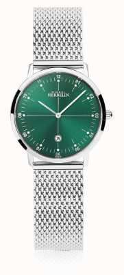 Michel Herbelin | de stad van vrouwen | zilveren mesh armband | groene wijzerplaat | 16915/16B