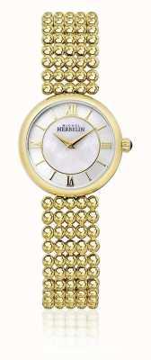 Michel Herbelin | vrouwen perle | gouden toonarmband parelmoer wijzerplaat | 17483/BP19