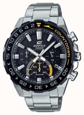 Casio | gebouw zonne | roestvrij stalen armband | zwarte wijzerplaat | EFS-S550DB-1AVUEF