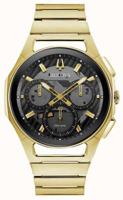 Bulova | curv | heren | goudkleurige armband | zwarte chrono wijzerplaat | 97A144