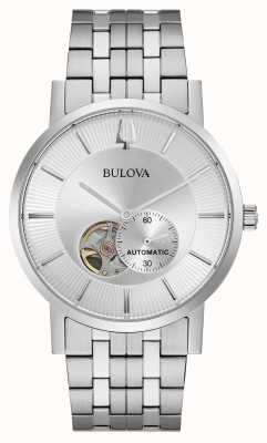 Bulova Heren automatisch | roestvrij stalen armband | zilveren wijzerplaat 96A238