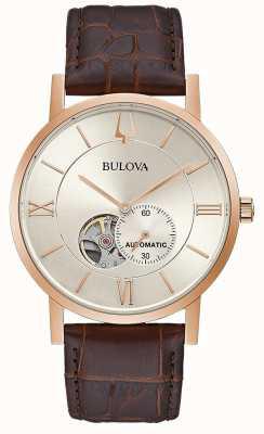 Bulova | heren | automatisch | bruine lederen band | zilveren wijzerplaat | 97A150