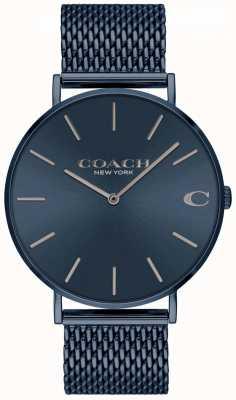Coach Mens Charles | blauwe ip mesh stalen armband | blauwe wijzerplaat 14602146