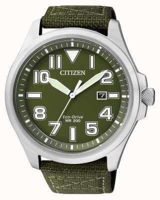 Citizen | mens eco-drive | groene nylon band | groene wijzerplaat | AW1410-32X