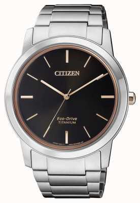 Citizen | heren eco-drive titanium wr50 | zwarte wijzerplaat | zilveren armband AW2024-81E