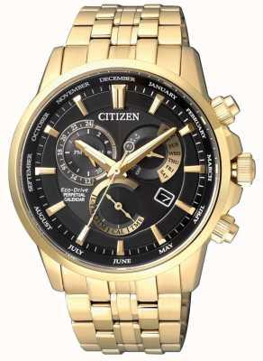 Citizen | mens eco-drive kaliber 8700 | zwarte wijzerplaat | gouden toon | BL8142-84E