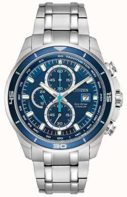 Citizen   mens eco-drive titanium wr100   blauwe chronograaf wijzerplaat   CA0349-51L