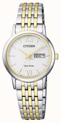 Citizen | dames eco-drive | tweekleurige armband | zilveren wijzerplaat | EW3254-87A