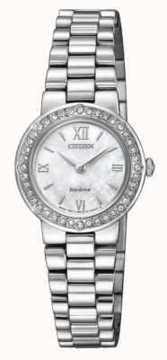 Citizen | dames eco-drive | set met kristallen | zilveren armband | EW9820-89D