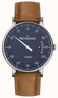 MeisterSinger | heren vintago | automatisch | bruin leer | blauwe wijzerplaat VT908