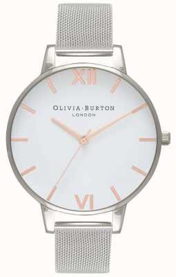 Olivia Burton dames | witte wijzerplaat | zilveren mesh armband | OB16BD97