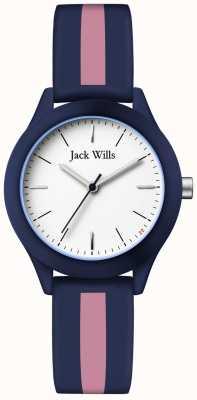 Jack Wills | de unie van vrouwen | witte wijzerplaat | marine / roze siliconen riem | JW008BLPST