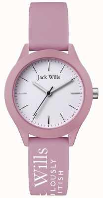 Jack Wills | de unie van vrouwen | witte wijzerplaat | roze siliconen armband | JW008PKWH
