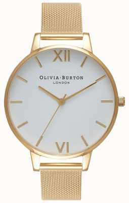 Olivia Burton | dames | witte wijzerplaat | gouden gaas armband | OB15BD84