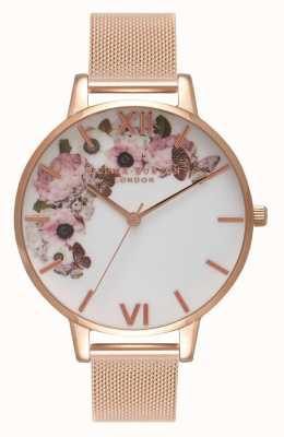 Olivia Burton | vrouwen | kenmerkende florale wijzerplaat rosegouden armband OB16WG18