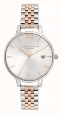 Olivia Burton   vrouwen   demi datum   tweekleurige roestvrijstalen armband   OB16DE06