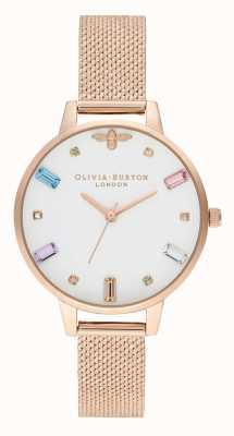 Olivia Burton | dames | regenboog bij | armband van boucle rose goud mesh | OB16RB15