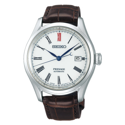 Seiko Presage heren automatisch bruin lederen Japans uurwerk met witte wijzerplaat SPB095J1