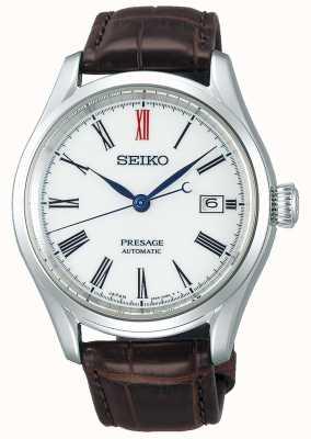Seiko Presage heren automatisch wit Japans leer Japans uurwerk SPB095J1