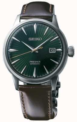 Seiko Presage automatische groene wijzerplaat bruine lederen band 'cocktail time' SRPD37J1