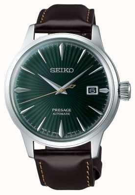 Seiko Presage automatische groene wijzerplaat 'cocktail time' bruine lederen band SRPD37J1