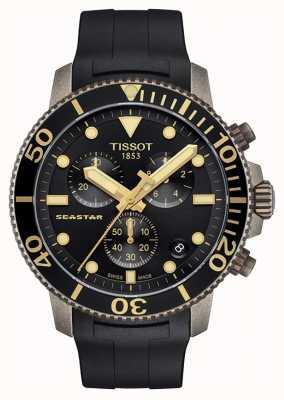 Tissot | mens seastar | zwarte chronograaf wijzerplaat | zwarte rubberen riem T1204173705101