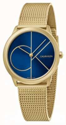Calvin Klein Minimaal | gouden netwerkarmband blauwe wijzerplaat | K3M5255N
