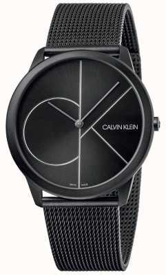 Calvin Klein Minimaal | zwarte mesh armband | zwarte wijzerplaat | K3M5T451
