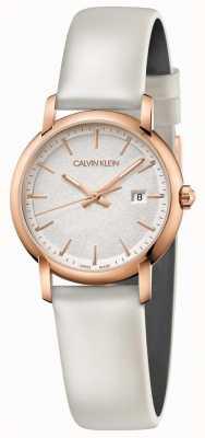 Calvin Klein   gevestigde womens   witte lederen riem   zilveren wijzerplaat   K9H236L6