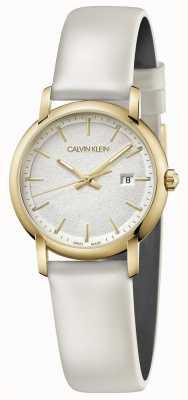 Calvin Klein | Witte lederen damesriem zilveren wijzerplaat | K9H235L6