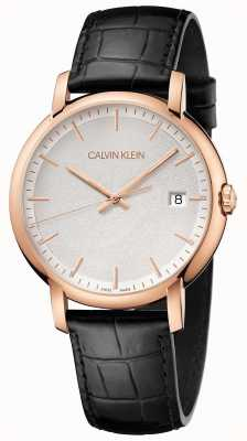 Calvin Klein | mens minimaal | zwarte leren riem | witte wijzerplaat | K9H216C6