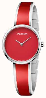 Calvin Klein   vrouwen verleiden   roestvrijstalen rode hars armband   K4E2N11P