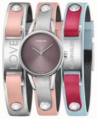 Calvin Klein | mijn calvins | roze leren riem | horloge en armbandenset | K9D231ZZ