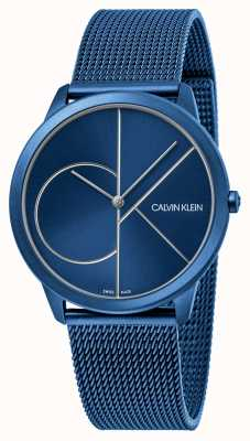 Calvin Klein Minimaal | blauwe mesh armband | blauwe wijzerplaat | K3M51T5N